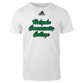 Adidas White Logo T Shirt-Holyoke Community College Script