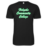 Next Level SoftStyle Black T Shirt-Holyoke Community College Script