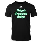 Adidas Black Logo T Shirt-Holyoke Community College Script