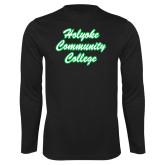 Performance Black Longsleeve Shirt-Holyoke Community College Script