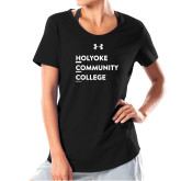 Ladies Under Armour Black Charged Cotton Tee-Institutional Logo