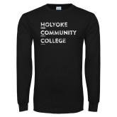 Black Long Sleeve T Shirt-Institutional Logo Distressed