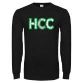 Black Long Sleeve T Shirt-HCC Distressed