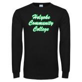 Black Long Sleeve T Shirt-Holyoke Community College Script