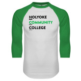 White/Kelly Green Raglan Baseball T Shirt-Institutional Logo
