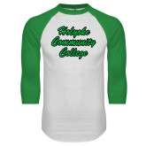White/Kelly Green Raglan Baseball T Shirt-Holyoke Community College Script