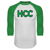 White/Kelly Green Raglan Baseball T Shirt-HCC