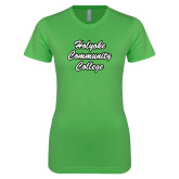 Next Level Ladies SoftStyle Junior Fitted Kelly Green Tee-Holyoke Community College Script