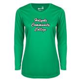 Ladies Syntrel Performance Kelly Green Longsleeve Shirt-Holyoke Community College Script