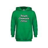 Youth Kelly Green Fleece Hoodie-Holyoke Community College Script
