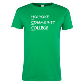 Ladies Kelly Green T Shirt-Institutional Logo Distressed