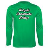 Performance Kelly Green Longsleeve Shirt-Holyoke Community College Script