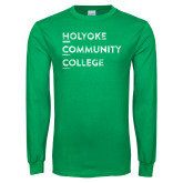 Kelly Green Long Sleeve T Shirt-Institutional Logo Distressed