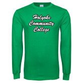 Kelly Green Long Sleeve T Shirt-Holyoke Community College Script