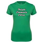 Ladies Syntrel Performance Kelly Green Tee-Holyoke Community College Script