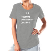 Ladies Under Armour Grey Charged Cotton Tee-Institutional Logo