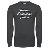 Charcoal Long Sleeve T Shirt-Holyoke Community College Script