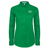 Ladies Kelly Green Twill Button Down Long Sleeve-Institutional Logo