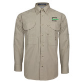 Khaki Long Sleeve Performance Fishing Shirt-Institutional Logo