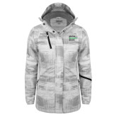 Ladies White Brushstroke Print Insulated Jacket-Institutional Logo