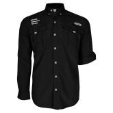 Columbia Bahama II Black Long Sleeve Shirt-Institutional Logo