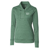 Ladies Cutter & Buck Shoreline Green 1/2 Zip-Institutional Logo