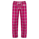 Ladies Dark Fuchsia/White Flannel Pajama Pant-Institutional Logo