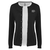 Ladies Black Cardigan-Institutional Logo