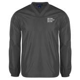 V Neck Charcoal Raglan Windshirt-Institutional Logo