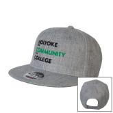 Heather Grey Wool Blend Flat Bill Snapback Hat-Institutional Logo