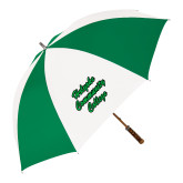 64 Inch Kelly Green/White Umbrella-Holyoke Community College Script