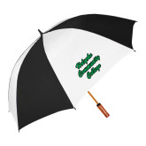 62 Inch Black/White Vented Umbrella-Holyoke Community College Script