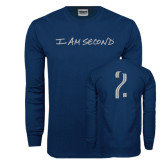 Navy Long Sleeve T Shirt-I am Second
