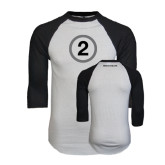 White/Black Raglan Baseball T-Shirt-2 Inside Circle