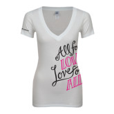 Next Level Ladies Junior Fit Deep V White Tee-All For Love