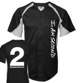 Replica Black Adult Baseball Jersey-I Am Second