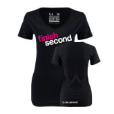 Ladies Under Armour Black Charged Cotton V-Neck-