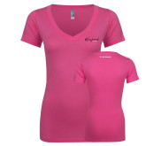 Next Level Ladies Junior Fit Deep V Pink Tee-Transformed