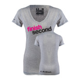 Ladies Under Armour Grey Charged Cotton V-Neck-