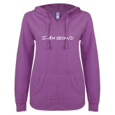 ENZA Ladies Berry V Notch Raw Edge Fleece Hoodie-