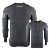 Charcoal Long Sleeve Henley Tee-I Am Second Charcoal Long Sleeve Henley