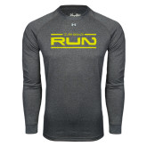 Under Armour Carbon Heather Long Sleeve Tech Tee-Run Logo