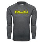 Under Armour Carbon Heather Long Sleeve Tech Tee-Run Logo