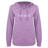 ENZA Ladies Hot Violet V Notch Raw Edge Fleece Hoodie-