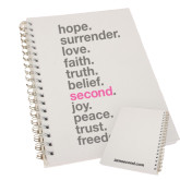 Clear 7 x 10 Spiral Journal Notebook-Hope, Surrender, Love...