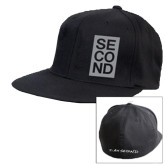 Black OttoFlex Flat Bill Pro Style Hat-Second Stacked