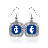 Crystal Studded Square Pendant Silver Dangle Earrings-IC Athletic Logo