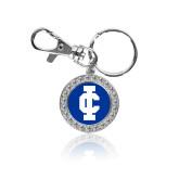 Crystal Studded Round Key Chain-IC Athletic Logo