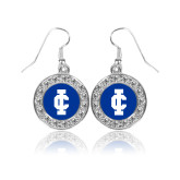 Crystal Studded Round Pendant Silver Dangle Earrings-IC Athletic Logo