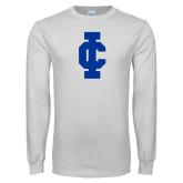 White Long Sleeve T Shirt-IC Athletic Logo